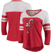 Louisville Cardinals Fanatics Branded Women's Vault Primary Logo Raglan 3/4 Sleeve Tri-Blend Long Sleeve T-Shirt – Heathered Red