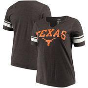 Texas Longhorns Women's Plus Size Sleeve Insert V-Neck T-Shirt– Heather Gray/