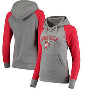 Louisville Cardinals Fanatics Branded Women's Vault Arch Over Logo Raglan Pullover Hoodie - Heathered Gray