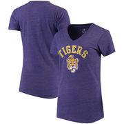 LSU Tigers Fanatics Branded Women's Vault Arch Over Logo Tri-Blend V-Neck T-Shirt - Purple