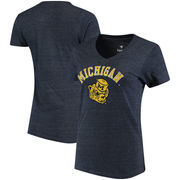 Michigan Wolverines Fanatics Branded Women's Vault Arch Over Logo Tri-Blend V-Neck T-Shirt - Navy