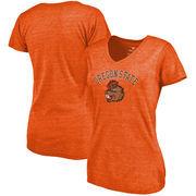 Oregon State Beavers Fanatics Branded Women's Vault Arch Over Logo Tri-Blend V-Neck T-Shirt - Orange