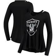 Oakland Raiders Majestic Threads Women's Separation Long Sleeve V-Neck T-Shirt - Black