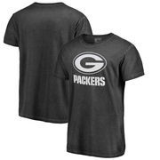 Green Bay Packers NFL Pro Line by Fanatics Branded White Logo Shadow Washed T-Shirt - Black