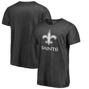 New Orleans Saints NFL Pro Line by Fanatics Branded White Logo Shadow Washed T-Shirt - Black