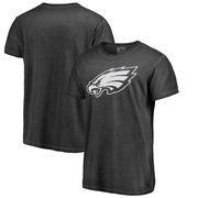Philadelphia Eagles NFL Pro Line by Fanatics Branded White Logo Shadow Washed T-Shirt - Black