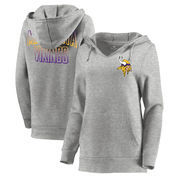 Minnesota Vikings Let Loose by RNL Women's Team Logo Fleece Tri-Blend Pullover Hoodie - Ash
