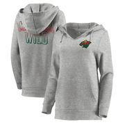 Minnesota Wild Let Loose by RNL Women's Team Logo Fleece Tri-Blend Pullover Hoodie - Ash