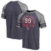 J.J. Watt Houston Texans NFL Pro Line by Fanatics Branded Team Elite Tri-Blend T-Shirt - Navy