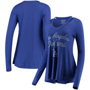 Los Angeles Dodgers Majestic Threads Women's Separation Long Sleeve V-Neck T-Shirt - Royal
