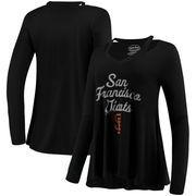 San Francisco Giants Majestic Threads Women's Separation Long Sleeve V-Neck T-Shirt - Black