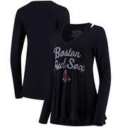 Boston Red Sox Majestic Threads Women's Separation Long Sleeve V-Neck T-Shirt - Navy