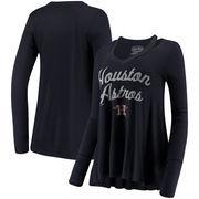 Houston Astros Majestic Threads Women's Separation Long Sleeve V-Neck T-Shirt - Navy