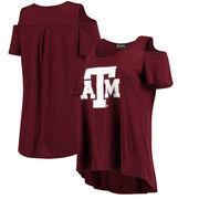 Texas A&M Aggies Women's Cold Shoulder Flowy Tri-Blend T-Shirt – Maroon