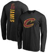 LeBron James Cleveland Cavaliers Fanatics Branded Backer Name & Number Long Sleeve T-Shirt - Black