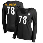 Alejandro Villanueva Pittsburgh Steelers NFL Pro Line by Fanatics Branded Women's Authentic Stack Name & Number V-Neck Long Slee