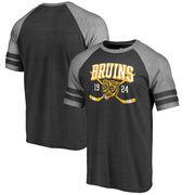 Boston Bruins Fanatics Branded Line Shift 2 Stripe Tri-Blend Raglan T-Shirt - Black
