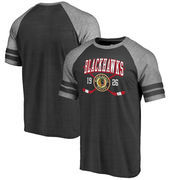 Chicago Blackhawks Fanatics Branded Line Shift 2 Stripe Tri-Blend Raglan T-Shirt - Black