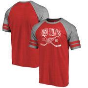 Detroit Red Wings Fanatics Branded Line Shift 2 Stripe Tri-Blend Raglan T-Shirt - Red