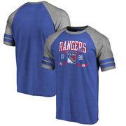 New York Rangers Fanatics Branded Line Shift 2 Stripe Tri-Blend Raglan T-Shirt - Blue