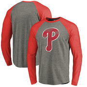Philadelphia Phillies Fanatics Branded Distressed Team Long Sleeve Tri-Blend Raglan T-Shirt - Gray/Red