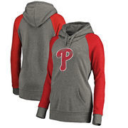 Philadelphia Phillies Fanatics Branded Women's Distressed Team Logo Tri-Blend Raglan Pullover Hoodie - Gray/Red