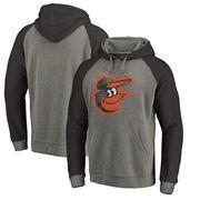 Baltimore Orioles Fanatics Branded Distressed Team Logo Tri-Blend Raglan Pullover Hoodie - Gray/Black