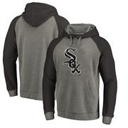 Chicago White Sox Fanatics Branded Distressed Team Logo Tri-Blend Raglan Pullover Hoodie - Gray/Black