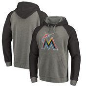 Miami Marlins Fanatics Branded Distressed Team Logo Tri-Blend Raglan Pullover Hoodie - Gray/Black