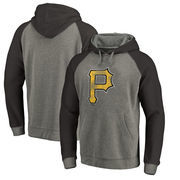Pittsburgh Pirates Fanatics Branded Distressed Team Logo Tri-Blend Raglan Pullover Hoodie - Gray/Black
