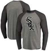 Chicago White Sox Fanatics Branded Distressed Team Big & Tall Long Sleeve Tri-Blend Raglan T-Shirt - Gray/Black