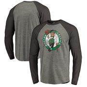 Boston Celtics Fanatics Branded Distressed Logo Tri-Blend Raglan Big & Tall Long Sleeve T-Shirt - Ash/Black