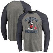 Boston Red Sox Fanatics Branded Disney MLB Tradition Long Sleeve Tri-Blend T-Shirt - Heathered Gray