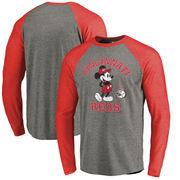 Cincinnati Reds Fanatics Branded Disney MLB Tradition Long Sleeve Tri-Blend T-Shirt - Heathered Gray