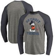 Detroit Tigers Fanatics Branded Disney MLB Tradition Long Sleeve Tri-Blend T-Shirt - Heathered Gray