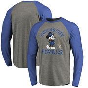 Kansas City Royals Fanatics Branded Disney MLB Tradition Long Sleeve Tri-Blend T-Shirt - Heathered Gray
