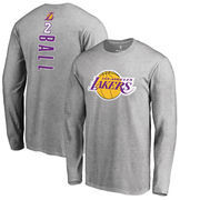 Lonzo Ball Los Angeles Lakers Fanatics Branded Backer Big & Tall Long Sleeve T-Shirt - Gray