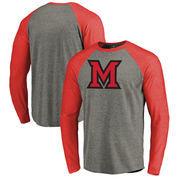 Miami University RedHawks Fanatics Branded Primary Logo Long Sleeve Tri-Blend Big & Tall Raglan T-Shirt - Heathered Gray