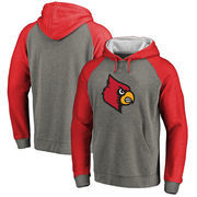 Louisville Cardinals Fanatics Branded Primary Logo Tri-Blend Raglan Big & Tall Pullover Hoodie - Heathered Gray