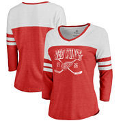 Detroit Red Wings Fanatics Branded Women's Vintage Collection Line Shift Color Block Three-Quarter Sleeve Tri-Blend T-Shirt - Re