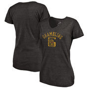 Grambling Tigers Fanatics Branded Women's Vault Arch over Logo Tri-Blend V-Neck T-Shirt - Black