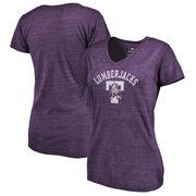 Stephen F Austin Lumberjacks Fanatics Branded Women's Vault Arch over Logo Tri-Blend V-Neck T-Shirt - Purple