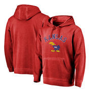 Kansas Jayhawks Fanatics Branded Vault Arch Over Logo Shadow Washed Pullover Hoodie - Red