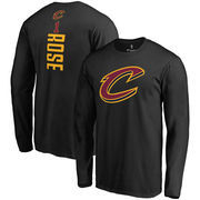 Derrick Rose Cleveland Cavaliers Fanatics Branded Backer Name & Number Long Sleeve T-Shirt - Black