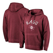 New Mexico State Aggies Fanatics Branded Vault Arch Over Logo Shadow Washed Pullover Hoodie - Garnet
