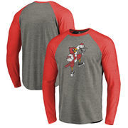 Louisville Cardinals Fanatics Branded College Vault Primary Team Logo Big & Tall Long Sleeve Tri-Blend Raglan T-Shirt - Ash