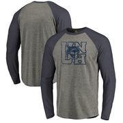 New Hampshire Wildcats Fanatics Branded College Vault Primary Team Logo Big & Tall Long Sleeve Tri-Blend Raglan T-Shirt - Ash