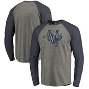 Villanova Wildcats Fanatics Branded College Vault Primary Team Logo Big & Tall Long Sleeve Tri-Blend Raglan T-Shirt - Ash