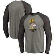 Wake Forest Demon Deacons Fanatics Branded College Vault Primary Team Logo Big & Tall Long Sleeve Tri-Blend Raglan T-Shirt - Ash