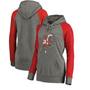 Louisville Cardinals Fanatics Branded Women's College Vault Primary Logo Tri-Blend Plus Size Raglan Pullover Hoodie - Ash